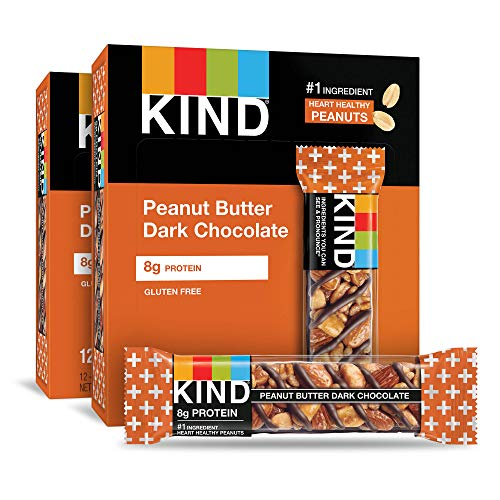 KIND Bars Peanut Butter Dark Chocolate 8g Protein Gluten Free 14 Ounce Bars 24 Count
