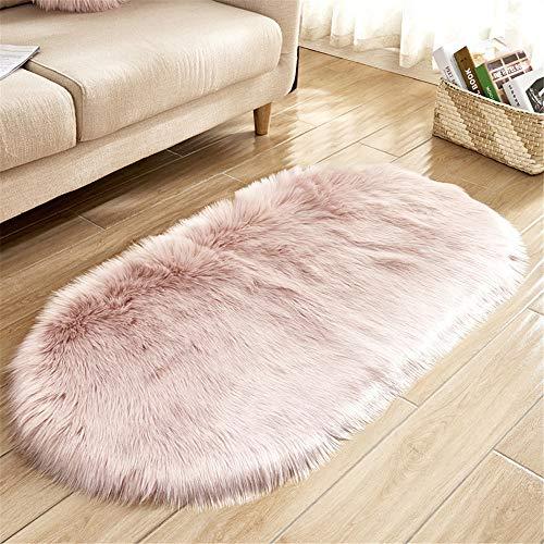 SWECOMZE Lammfellimitat Flauschigen Teppiche Imitat Kunstfell,Nachahmung Wolle Bettvorleger Sofa...
