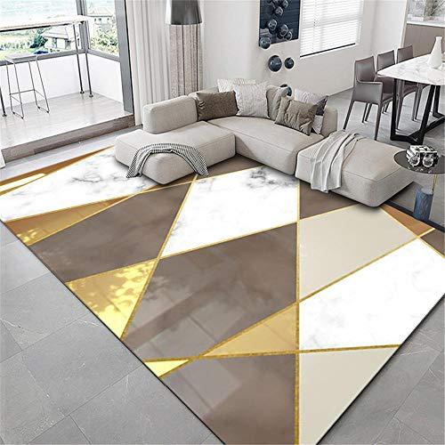 Home alfombras Infantiles Sala de Estar Alfombra Resistente a Las Manchas Geométrico Moderno Dorado Marrón Blanco Home Decoracion Balcón Decorativo 40x60cm 1ft 3.7' X1ft 11.6'