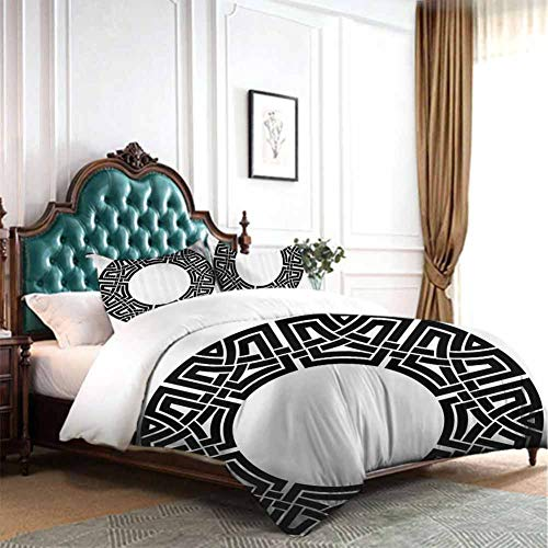 Hiiiman Bed Sheet Pillowcase Bed Ornamental Round Celtic Frame with Folkloric Tied Knot Pattern Vintage Decorative Design Queen Size W90 INCH x L90 INCH Bedroom Comforters