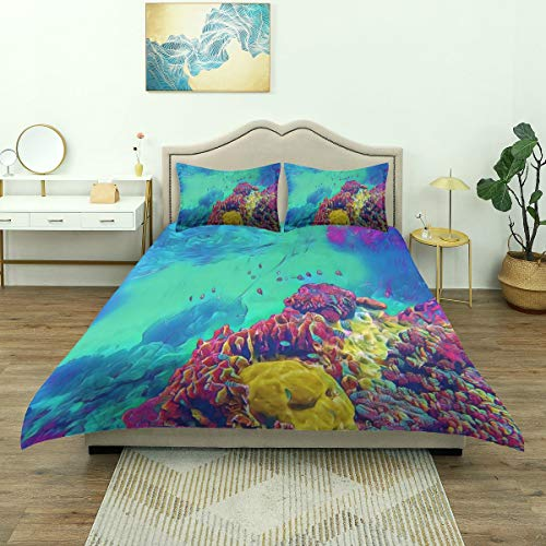 Dodunstyle Duvet Cover,Colorful Reef Fantastic Underwater Landscape Tropical Fishes Coral Nature Parks Yellow Animal Atoll, Bedding set Comfy Lightweight Microfiber