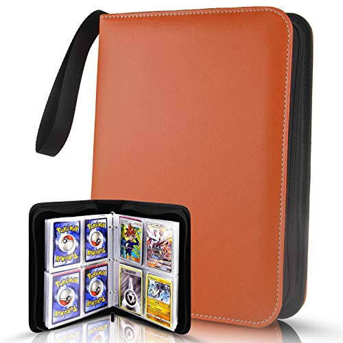 400 Pockets Card Binder Carrying Holder Compatible with Pokemon Trading Cards Binder, Baseball Card Sleeves, Sports Cards (Orange) - TONESPAC