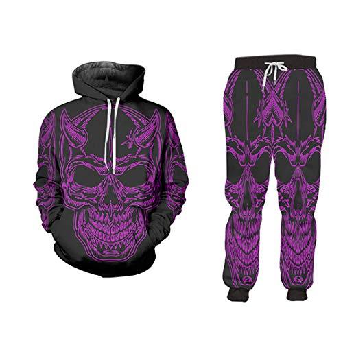 Mens Hoodie Sweatpants Skull Jacket Pants 3D Print Casual Fitness Tracksuit Summer Autumn Streetwear HSPA70260 XXXL