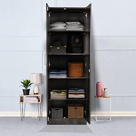 Wakefit Twill Engineered Wood Wardrobe Wall Anchored, Dark Brown, 2 Door with Four Shelves