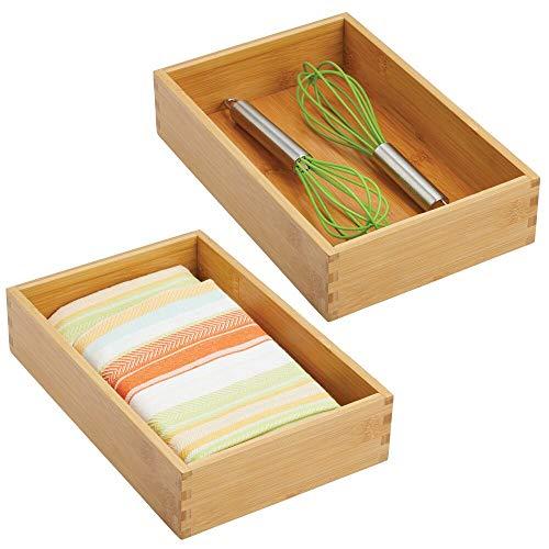 mDesign Set da 2 Divisori cassetti cucina – Scatola legno modulare per accessori cucina o altro – Portaoggetti da cassetto in bambù – marrone chiaro