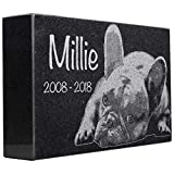 Black Granite Memorial Headstone for Lost Loved Ones, Dogs, Cats, and Family Pets. ' Great for Your Garden, Tree Dedication, or in a Cemetery. Includes your personal photo and text. (12 x 8 x 2')