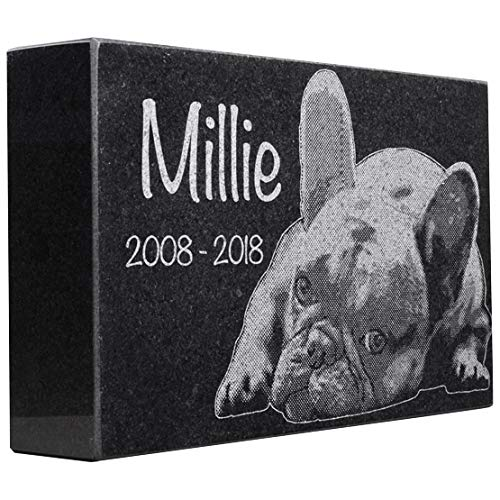 Black Granite Memorial Headstone for Lost Loved Ones, Dogs, Cats, and Family Pets.