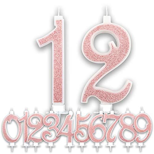 Candeline Grandi Compleanno Rosa Gold Glitter | Numeri brillanti per Torta Festa Birthday Ragazza | Decorazioni Candele Topper Auguri Anniversario Torta | Altezza 13 CM (Numero 12)