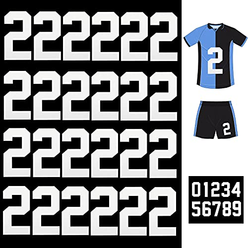 25 Piezas Números Planchados Números de Transferencia de Calor Letras Planchadas de 8 Pulgadas para Uniforme de Equipo Camiseta Deportiva Fútbol Baloncesto Béisbol (Blanco 2)