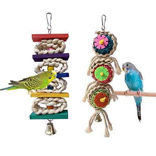 Parrot Toys Chewing Bird Toy Cuttlebone Beak Grinding Stone Cage Hanging Toys with Bell for African Greys Amazon Conure Eclectus Budgies Parakeet Cockatiel Hamster Chinchilla Rabbit, 2 Pack