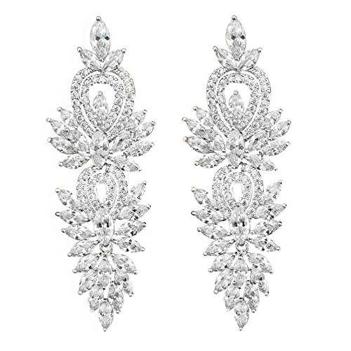 quke silberne Frauen-Ohrringe, Art-Déco-Ohrhänger, mit Zirkonia-Kristallen (CZ), Brautschmuck