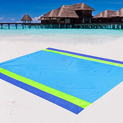 Beach Blanket Sand Proof Waterproof, Quick Drying Compact Beach Mat Large Sandproof Nylon Pocket Picnic Blanket for Outdoor Travel (Blue-Green-B)