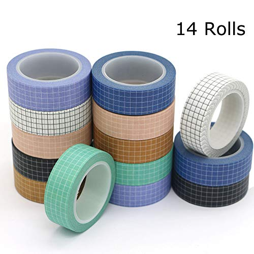 Washi Tape Set, YuBoBo Grid Washi Masking Decorative Tapes 33 Feet per Roll for DIY Decor Planners Scrapbooking Adhesive School/Party Supplies (14 Rolls)