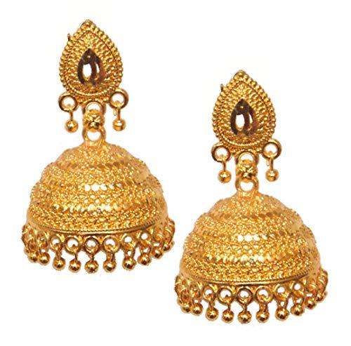 Pahal - Pendientes tradicionales de estilo jhumka chapados en oro para mujer (diseño 4)