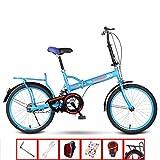 YSHCAPlegable Bicicleta, con Estante 20 Pulgadas Marco de Acero al Carbono Bicicleta Plegable Street Bicicleta Plegable Urbana,Blue-B