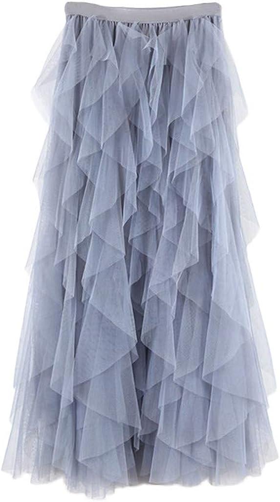 Litetao Women's Sheer Tulle Skirt Soild Color Elegant Ruffled Tiered Layered Sheer Tutu Midi Dress