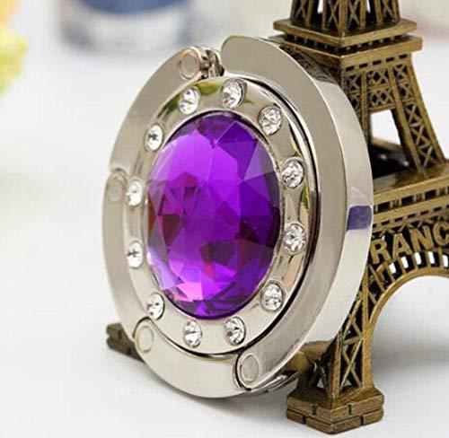 DIVISTAR Púrpura Plegable Diamante Bolso Gancho Percha Redondo Cristal Rhinestone Bolso Colgante...