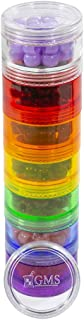 GMS 7 Stack-able Pill Organizers with 2 Lids and 7 Day Adhesive Labels for Organizing Vitamins, Supplements, and Medications (Medium Rainbow, 7 3/4 Inches in Height 2 Inches in Diameter)