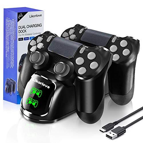 Likorlove Cargador Mando PS4 Charging Station Estación de Carga Controlador Inalámbrico con...