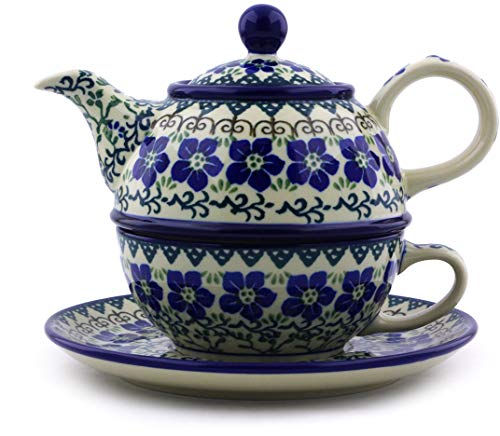 Great Price! Polish Pottery 21 oz Tea Set for One made by Ceramika Artystyczna (Blue Dogwood Theme) ...