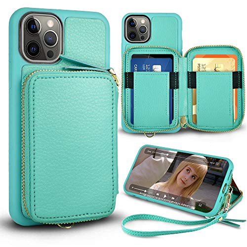 ZVE Wallet Case Compatible with iPhone 12 Pro/iPhone 12 61 inch Zipper Case with Card Holder Slot Wrist Strap Leather Protective Purse Case for iPhone 12 and iPhone 12 Pro 2020  Mint Green