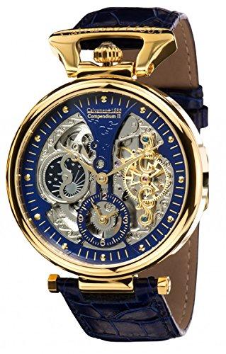 Calvaneo 1583 Herren-Armbanduhr Compendium Gold Blue Analog Automatik Leder blau 107925
