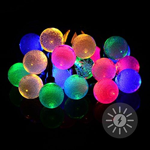 Nexos Solar Lichterkette 20 LED bunt mit Bällen Kugeln 2,2 cm mit Luftblasen Blinkfunktion Gartenbeleuchtung Party Lichterkette für Außen Solarpanel Länge 2,95 m