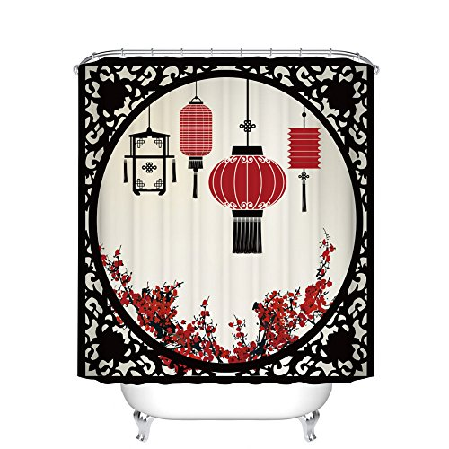 Fangkun Lantern Decor Shower Curtain Set - Chinese Style Lanterns with Round Ornate Figure Graphic - Polyester Fabric Waterproof Bath Curtains - 12pcs Shower Hooks - 72 x 72 inches