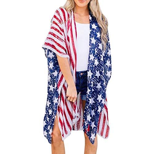 Yyh Dames-chiffon, losse sjaal, gebreide jas, Beachwear-badpak, druk-strand-losse hieb-huls-sjaal, kimono cardigan top cover up blouse X-Large blauw