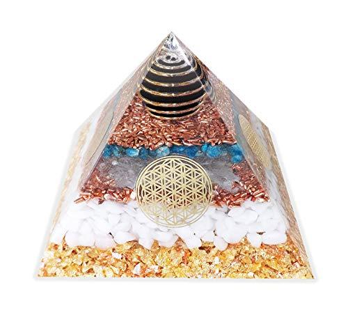 emotion & design Orgonit Pyramide - mit Schungitkugel, Kupfer, Apatit, Bergkristall, Schneequarz, Baryt
