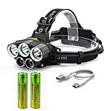 250000LM 5X T6 LED Headlamp Rechargeable Head Light Flashlight Torch Lamp