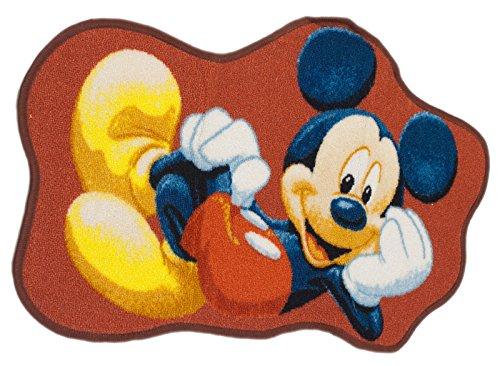 Disney Tapis Enfant 50x80 cm Forme Originale Shaped Mickey Rouge Chambre adapté au Chauffage par Le Sol