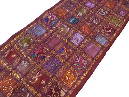 PUSHPACRAFTS Braune Farbe kastanienbraun Handbestickter Vintage-Tischläufer, indischer Sari, Baumwolle, Patchwork-Tischläufer, Bohemian-Stil, bunt, indische Dekoration, Wandbehang