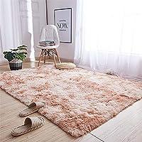女の子の寝室のための敷物、滑り止め敷物の下敷き、エリア敷物ふわふわカーペット寝室カーペットカーキグラデーション長方形4.5cm髪の長さ