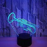 Night Light Kids Lámpara 3D 7 Color Trompeta acrílica Instrumentos musicales creativos Lámpara de mesa Decoración de la habitación Navidad Navidad GIF t Juguete Regalos de Navidad