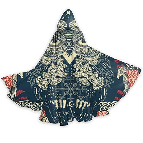 Capa de Adulto de búho Celta Disfraz de Cosplay de Halloween Capa de Gorra Larga Neutral 59 Pulgadas Capa Larga Negro