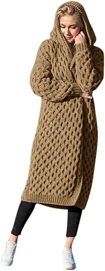 aihihe Long Knit Cardigan Sweaters for Women Solid Soft Long Sleeve Open Front Fall Winter Warm Cardigans Outwear : Sports & Outdoors