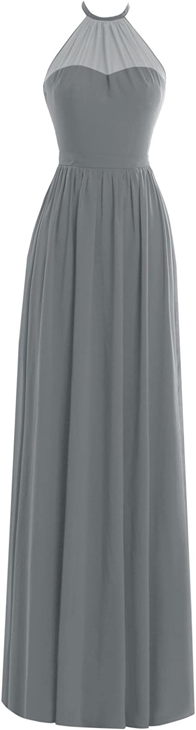 Dasior Womens Halter Long Formal Evening Gown Prom Party Dress