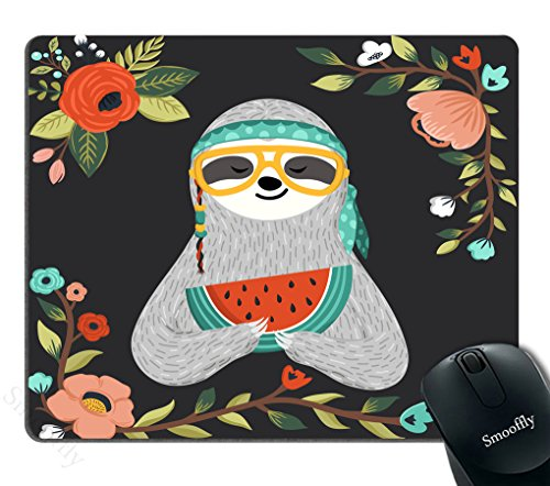 Smooffly Mousepad for Gaming,Cute Baby Sloth Eating Watermelon Mouse pad Funny Hippie Sloth Holding Watermelon Slice Personality Desings Gaming Mouse Pad,Hipster Animal Wearing Glasses and Bandana