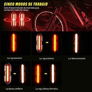TOPELEK Luz LED Trasera Bicicleta Potente [2 Paquetes] Luz Trasera para Bicicleta Recargable USB con Impermeable de IPX-44 para Máxima Seguridad de Ciclismo
