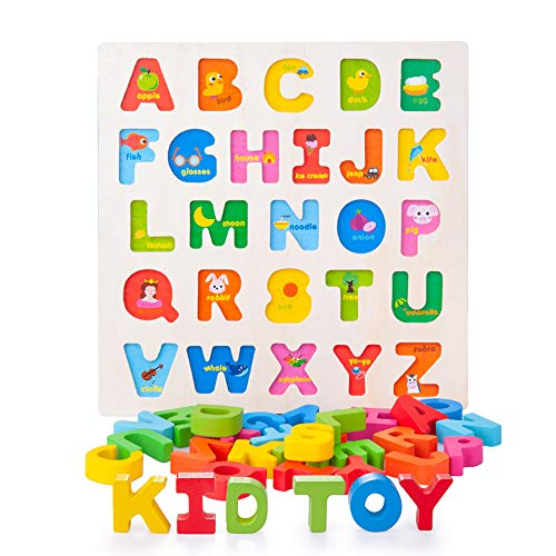 Joyshare Wooden Alphabet Puzzle ABC Jigsaws Chunky Letters Early Learning Toys for Kindergarten and Toddlers-est Educational Toy Preschool Learning, Spelling, Counting