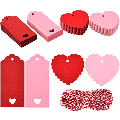 200 Pieces Valentine's Day Gift Tags Heart Kraft Paper Tags Hang Name Tags with 65.6 Feet Twines for Valentine's Party DIY Wrapping Supplies