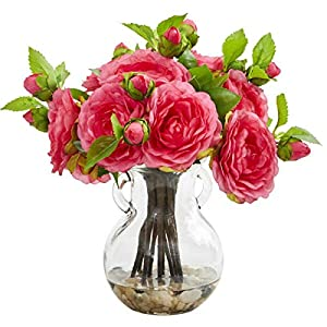 for Camellia Artificial Arrangement in Vase Pink Flower Decor 11″ H Floral Décor Home & Garden