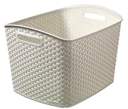 CURVER | Rangement Aspect rotin empilable XL - My Style, Ivoire, Storage Others, 43x34x29 cm