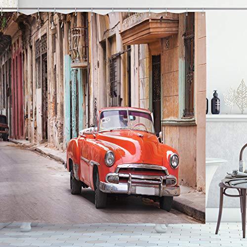 ABAKUHAUS Autos Duschvorhang, Klassische Amerikanische Havana, Personenspezifisch Druck inkl.12 Haken Farbfest Dekorative mit Klaren Farben, 175 x 200 cm, Orange Sand Braun