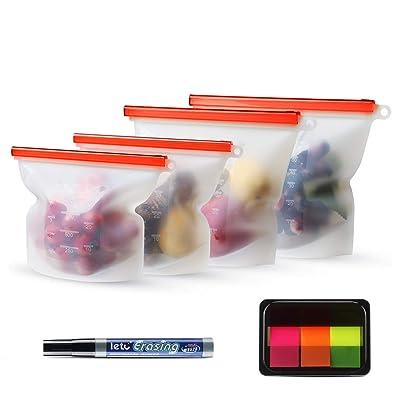 Reusable Silicone Food Bag 4 Set-Meckily Silico...