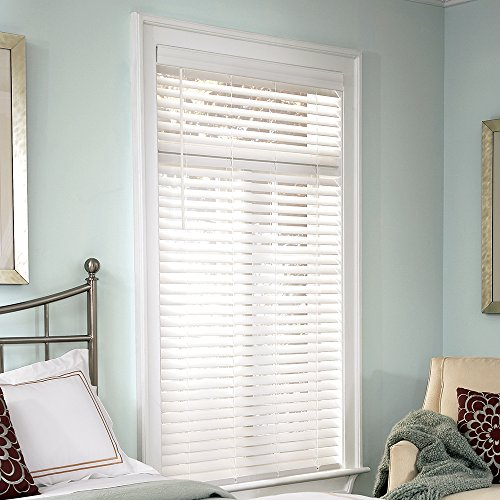 """Lumino 2-inch Faux Wood Cordless Room Darkening Blinds White - 30.5"""" W x 60"""" H (Over 500 Add"""