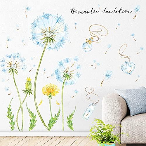 HUIJK Dormitorio decorativo pegatinas de pared diente de león planta flor fondo pared sala dormitorio pórtico decoración de pared pegatinas auto-adhesivo papel pintado decorativo
