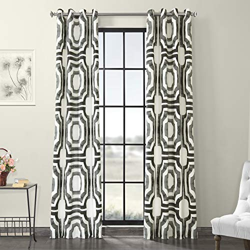 HPD Half Price Drapes PRTW-D23A-96-GR Grommet Printed Cotton Curtain (1 Panel), 50 X 96, Mecca Steel