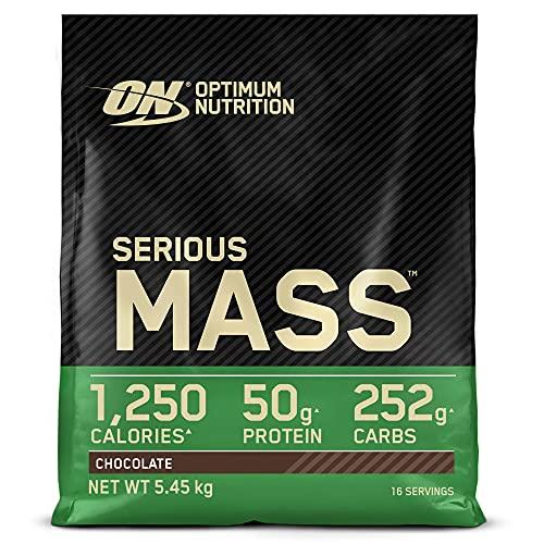 Optimum Nutrition ON Serious Mass Hochkalorisches Weight Gainer Protein Pulver, Whey Protein, Vitamine, Kreatin und Glutamin, Chocolate, 16 Portionen, 5,45kg, Verpackung kann Variieren
